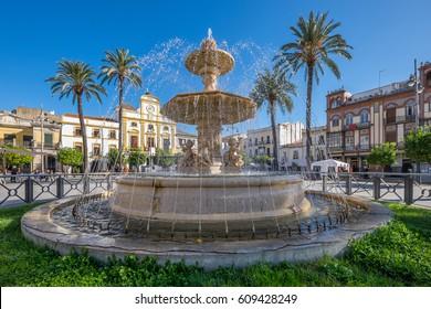 Fountain of Spanish Square of Merida. Spain