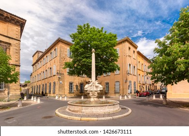 Fountain and square of Quatre-Dauphins in the heart of the Mazarin district, Aix-en-Provence, Provence, southern France