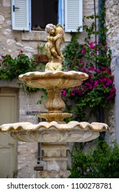 Fountain in a square, Tourettes-Sur-Loup, Provence, France