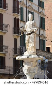The fountain and the statue in Verona, Italy