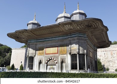 Fountain of Sultan Ahmed III in front of the Topkapi Palace in Istanbul,Turkey