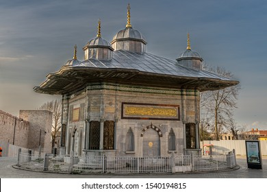 Fountain of Sultan Ahmed III , Istanbul, Turkey - March 28, 2019 : Turkish rococo structure in the great square near Hagia Sophia
