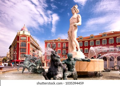 The Fountain of the Sun (Fontaine du Soleil) on the Place Massena in Nice, France.