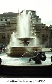 fountain in Trafalgar Square in London