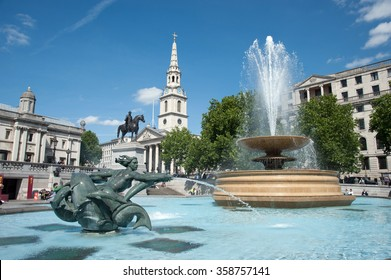 Fountain at Trafalgar Square, London, UK