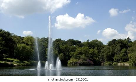 Fountain in Upper lake, Roundhay park, Leeds, UK