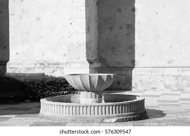 Fountain Village Background    in Black and White