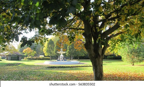 Fountain In Vivary Park, Taunton, Somerset In Autumn