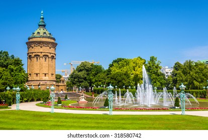 Fountain and Water Tower on Friedrichsplatz square in Mannheim - Germany