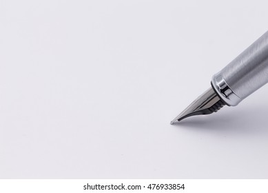 Fountain writing pen on white background with clipping path