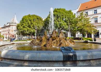 Fountain of Zodiac signs in Kosice old town, Slovakia.