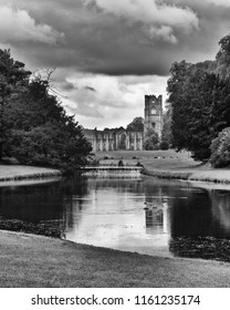 Fountains Abbey- Ancient Ruins in Monochrome