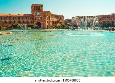 Fountains, beautiful architectural complex Republic Square. Touristic landmark. Sightseeing Yerevan. City tour. Government House. Travel, tourism concept. Explore the Caucasus. Armenian architecture