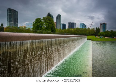 Fountains and buildings at Downtown Park, in Bellevue, Washington.