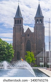 The fountains at the city Hall on a clear summer day in arnhem, Holland