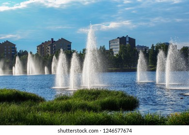 Fountains in the city in summer, Oulu