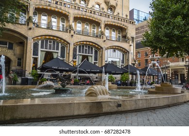 The fountains in front of American Hotel Amsterdam at Leidse Square - AMSTERDAM / THE NETHERLANDS - JULY 20, 2017