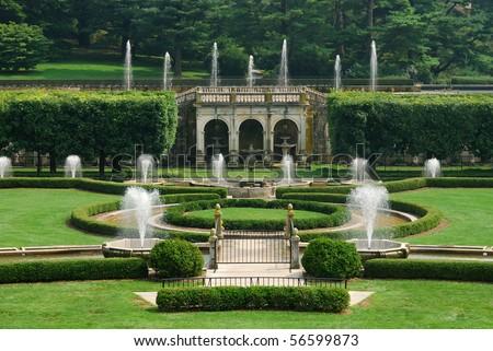 Fountains Garden Green Lawn Longwood Garden Stock Photo (Edit Now ...