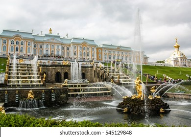 The fountains of the Grand Cascade. Peterhof Palace of Peter 1. St. Petersburg.