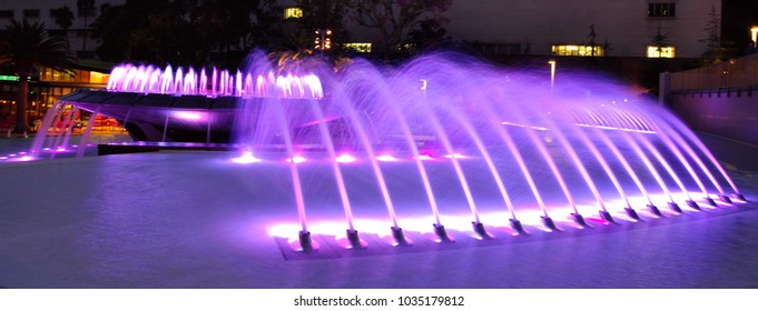 Fountains at Grand Park, in downtown Los Angeles, California.