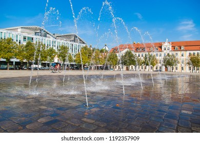 Fountains on the Cathedral square in Magdeburg