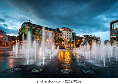 Fountains at Piccadilly garden in Manchester city center, England.