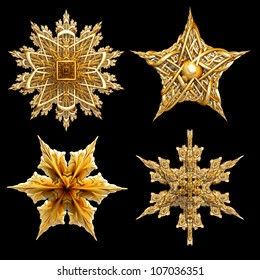 Four 3d gold star motifs isolated on black.