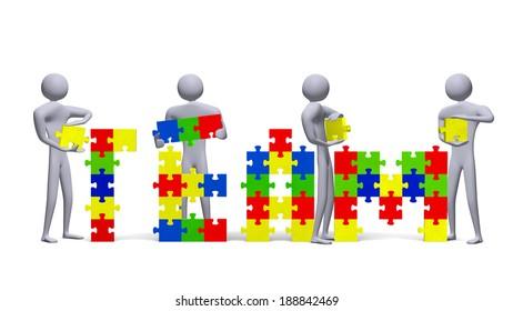 Four 3d people assembling team text of multicolor puzzle pieces