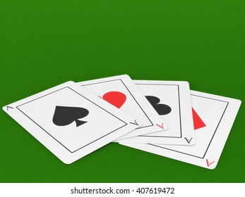 Four Ace playing cards on a felt green gaming table. 3D illustration.