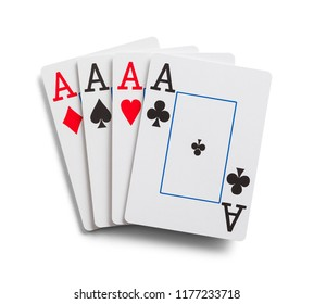 Four Aces Playing Cards Isolated on Whte.