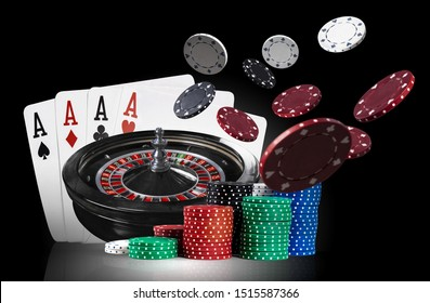 Four aces standing on mirror surface with backlight, behind of dark roulette and multicolored chips in piles, some of them flying apart. Close-up.