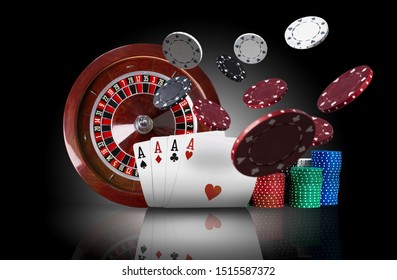 Four aces standing on mirror surface with backlight, ahead of brown roulette and multicolored chips in piles, some of them are flying apart. Close-up.