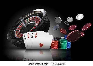 Four aces standing on mirror surface with backlight, ahead of dark roulette and multicolored chips in piles, some of them are flying apart. Close-up.