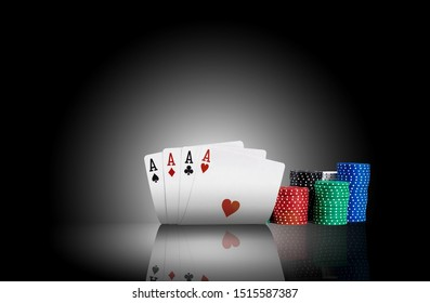 Four aces standing on a mirror surface with a backlight, ahead of a colorful chips in piles. Black background. Gambling entertainment. Close-up.