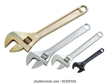four adjustable wrenches of different sizes, isolated, clipping, path