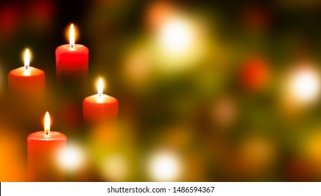 four advent candle lights on christmas background