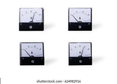 Four analog voltmeter & amp-meter isolated on white background.