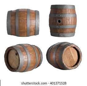 four angle wood barrel, cask, isolated on white background with clipping path