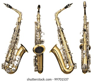 Four angles of a classical alto saxophone woodwind instrument