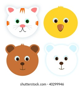 Four animals - cat, chicken and bears