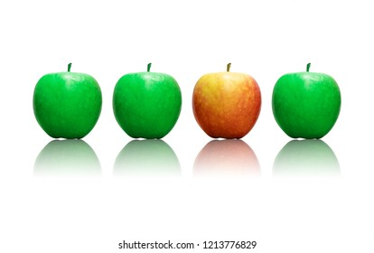 Four apples in a row , three being green and one is red wich makes it stand out as a sign of being different