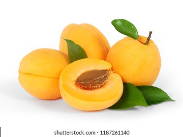 Four apricots fruit with green leaf isolated on white background with clipping path. One apricot is divided in half with a bone. Full depth of field.