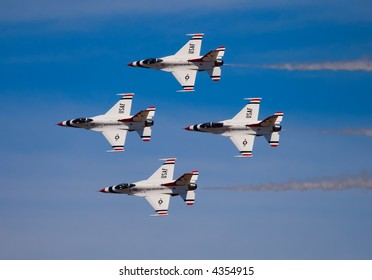 Four  army jets flying at airshow in Sacramento California