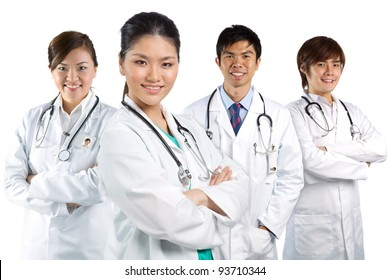 Four Asian doctor wearing a white coats with stethoscope's. Isolated on white.