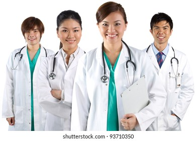 Four Asian doctors wearing a white coats with stethoscope's. Isolated on white.