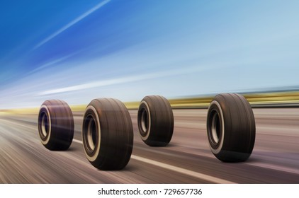 four automobile wheels moving on the road with high speed