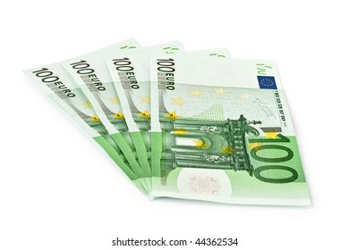 four banknotes of euro isolated on a white background