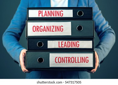 Four basic functions of management process in business organization - planning, organizing, leading and controlling