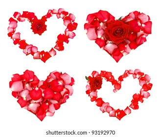 Four beautiful hearts of red petals