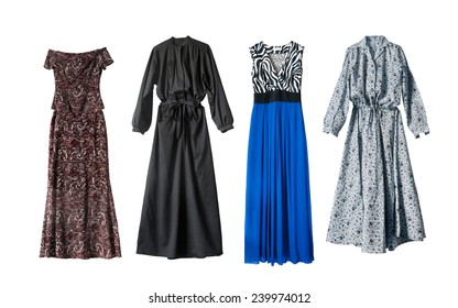 Four beautiful maxi dresses on white background
